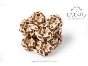 Ugears 3D dřevěné mechanické puzzle Kostka Flexi