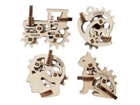 Ugears 3D dřevěné mechanické puzzle 4 mechanické přívěšky Charakterové symboly