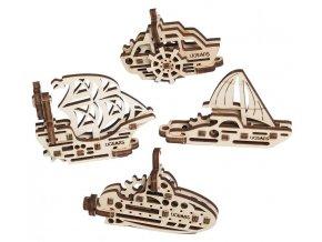 Ugears 3D dřevěné mechanické puzzle 4 mechanické přívěšky Plavidla