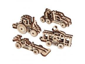 Ugears 3D dřevěné mechanické puzzle 4 mechanické přívěšky Vozidla