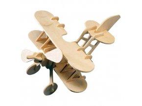 339062 woodcraft drevene 3d puzzle letadlo dvojplosnik