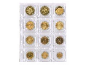 Listy na mince - pro 12 mincí o průměru 50mm (Barva prokládacího listu Červená)
