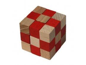 Dřevěný hlavolam kostka červená