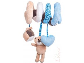 LUMPIN PLYŠ Baby spirála modrá medvídek Lumpin s hračkami pro miminko