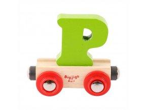 Bigjigs Rail vagónek dřevěné vláčkodráhy - Písmeno P