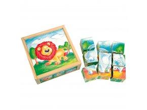 Bino Dřevěné hračky obrázkové kostky divoká zvířata 9 dílů