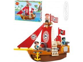 ECOIFFIER Baby Abrick loď pirátská herní set se 2 figurkami plast pro miminko