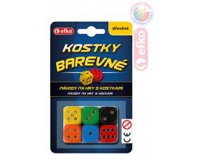 EFKO DŘEVO Hra kostky hrací barevné dřevěné set 6ks na kartě