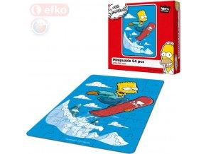 151358 efko puzzle the simpsons bart na snowboardu skladacka 21x15cm 54 dilku v krabici