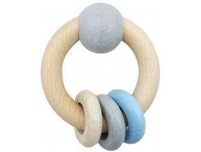 Hess Kulaté chrastítko s kuličkou a kroužky modré