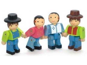 Jeujura Dřevěné figurky ke stavebnicím Farma 4 ks