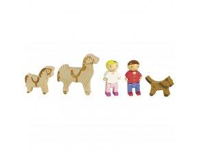 Jeujura Dřevěné figurky ke stavebnicím s koňmi 5 ks