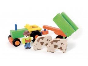 Jeujura Dřevěný traktor s vlečkou