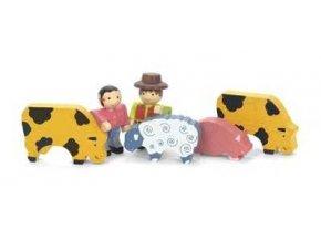 Jeujura Dřevěné figurky ke stavebnicím Farma 6 ks