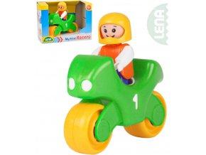 LENA My First Racers baby set motorka závodní + figurka plast pro miminko