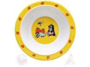 MORAVSKÁ ÚSTŘEDNA Miska jídelní Krtek a jahody (krteček) 16cm žlutý