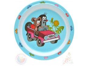 MORAVSKÁ ÚSTŘEDNA Talíř jídelní Krtek a autíčko (krteček) 21cm modrý