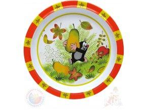 MORAVSKÁ ÚSTŘEDNA Talíř jídelní Krtek a hruška (krteček) 21cm červený