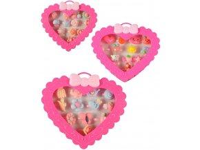 Prstýnek dětský sada 12ks v srdíčku dětská bižuterie různé druhy plast