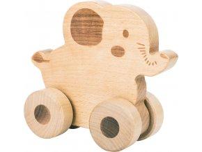Small Foot Dřevěné zvířátko na kolečkách 1ks slon