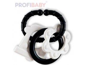 PROFIBABY Baby kousátko 3 tvary s klipem černobílé pro miminko