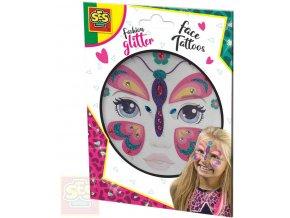 SES CREATIVE Motýl třpytkové tetování na obličej kreativní sada