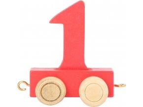 Vagónek dřevěné vláčkodráhy - barevné číslice - číslo 1