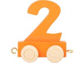 Vagónek dřevěné vláčkodráhy - barevné číslice - číslo 2
