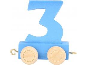 Vagónek dřevěné vláčkodráhy - barevné číslice - číslo 3