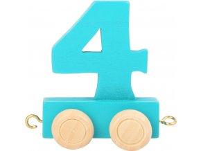 Vagónek dřevěné vláčkodráhy - barevné číslice - číslo 4