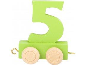 Vagónek dřevěné vláčkodráhy - barevné číslice - číslo 5
