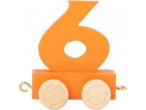 Vagónek dřevěné vláčkodráhy - barevné číslice - číslo 6