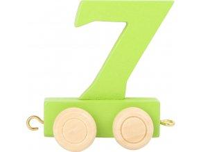 Vagónek dřevěné vláčkodráhy - barevné číslice - číslo 7