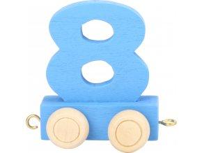Vagónek dřevěné vláčkodráhy - barevné číslice - číslo 8