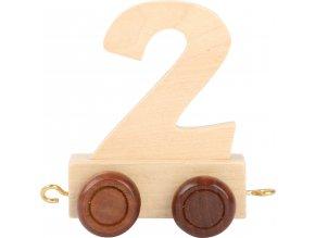 Vagónek dřevěné vláčkodráhy - přírodní číslice - číslo 2