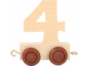 Vagónek dřevěné vláčkodráhy - přírodní číslice - číslo 4