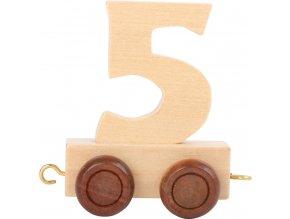 Vagónek dřevěné vláčkodráhy - přírodní číslice - číslo 5