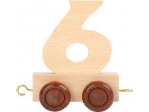 Vagónek dřevěné vláčkodráhy - přírodní číslice - číslo 6