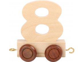 Vagónek dřevěné vláčkodráhy - přírodní číslice - číslo 8