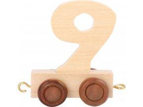 Vagónek dřevěné vláčkodráhy - přírodní číslice - číslo 9