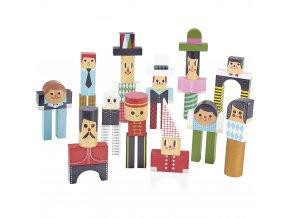 Vilac Dřevěné kostky postavičky