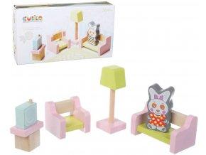 247235 cubika drevo obyvaci pokoj nabytek pro panenky s figurkou a magnetickymi oblecky