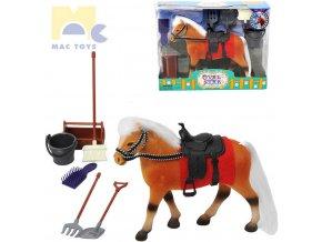 MAC TOYS Kůň fliškový hnědák 18cm set s příslušenstvím v krabici fliska