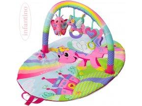 INFANTINO Baby deka hrací s hrazdou jednorožec s aktivitami pro miminko
