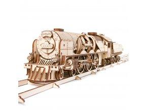 174680 ugears 3d drevene mechanicke puzzle v express parni lokomotiva