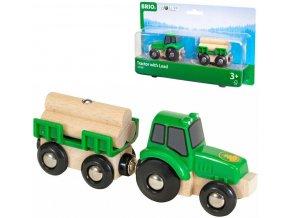 BRIO DŘEVO Set traktor s přívěsem a nákladem dřeva doplněk k vláčkodráze