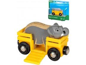 BRIO DŘEVO Set vagónek nákladní + slon doplněk k vláčkodráze