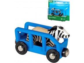 BRIO DŘEVO Set vagónek nákladní + zebra doplněk k vláčkodráze