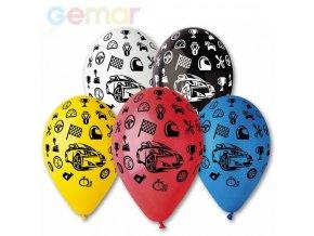 256439 gemar balonek nafukovaci 30cm pastelovy potisk auta ruzne barvy 1ks