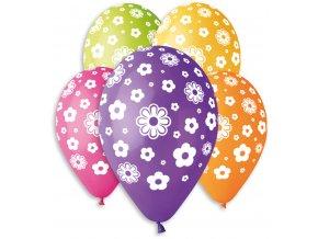 357766 gemar balonek nafukovaci 30cm potisk kvetiny set 5ks ruzne barvy v sacku